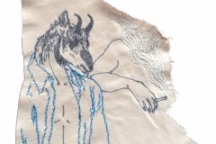 Sans titre, dessin et broderie sur chute de tissu, 2014